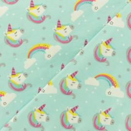 Tissu Oeko-Tex jersey Sweet unicorn - bleu ciel x 10cm