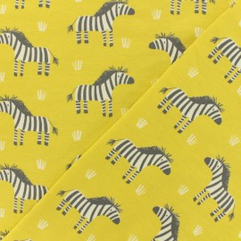 Oeko-Tex jersey fabric -linden yellow Cute Zebra x 10cm