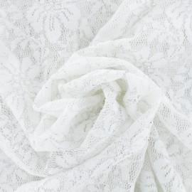 Lace fabric Summer flower with silver yarn - ecru x 10cm