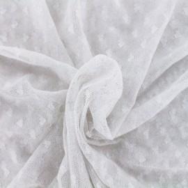 Tissu Résille coeurs - argent x 10cm