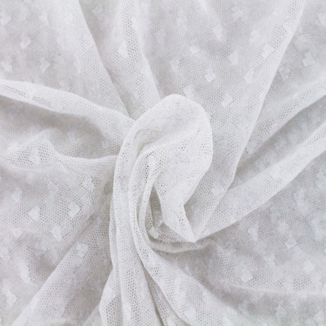 Heart Lace Fabric - silver x 10cm