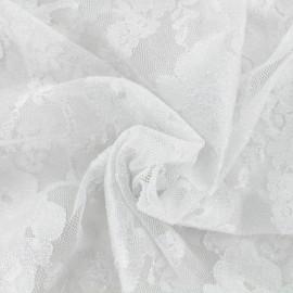 Tissu Dentelle fleurs sauvages argent x 10cm