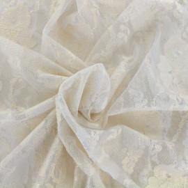 Tissu Dentelle fleurs sauvages doré x 10cm