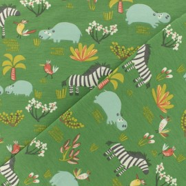 Oeko-Tex jersey fabric - Green Savannah animals x 10cm