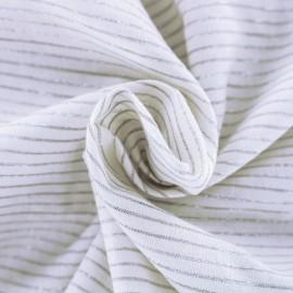 Tissu coton viscose rayé lurex - gris et blanc x 10 cm