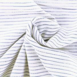 Tissu coton viscose rayé lurex - bleu et blanc x 10 cm