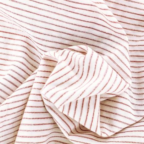 Tissu coton viscose rayé lurex - rouge et blanc x 10 cm