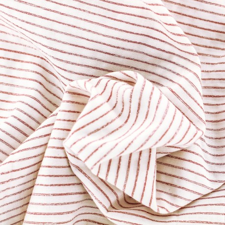 Viscose cotton fabric lurex stripes - red and white x 10 cm
