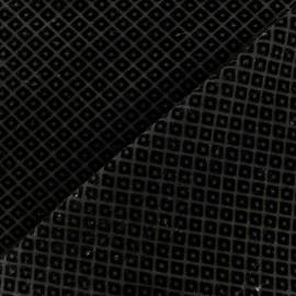 Tissu Jersey Milano floqué velours losanges - noir x 10cm
