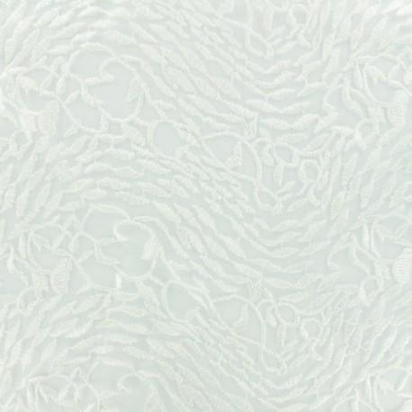 Tissu tulle brodé dentelle mariée festonnée - écru x 10cm