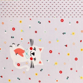 Poppy jersey Playful cat - light grey x 61cm