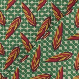 Tissu coton cretonne Plume - vert x 10cm