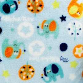 Flanell fleece light blue fabric - Cute elephants x 10cm