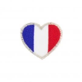 Coeur tricolore iron-on