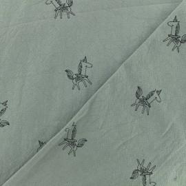 Tissu coton lavé Little unicorn - gris x 10cm