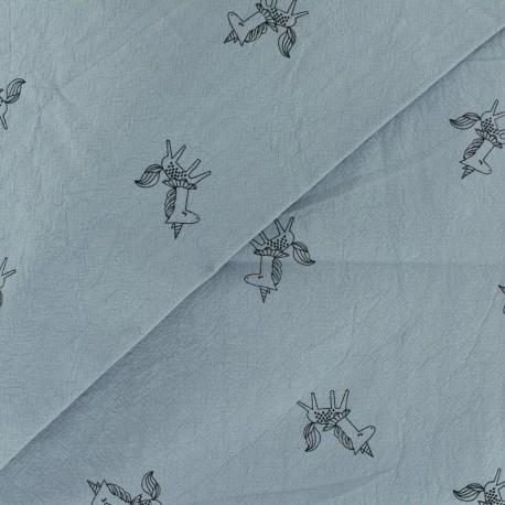 Tissu coton lavé Little unicorn - gris bleuté x 10cm