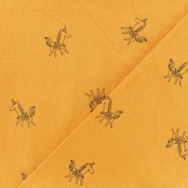 Washed cotton fabric - Mustard yellow Little unicorn x 10cm