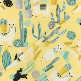 Tissu jersey Lama & cactus - jaune x 10cm