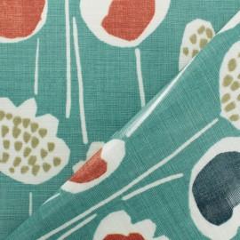 Tissu coton enduit South Pacific - bleu  x 10cm