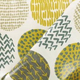 Coated cotton Fabric - Ecru Original circle x 10cm