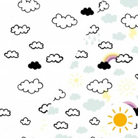 Tissu Oeko-Tex Jersey Photosensible - nuage enfantin x 10cm