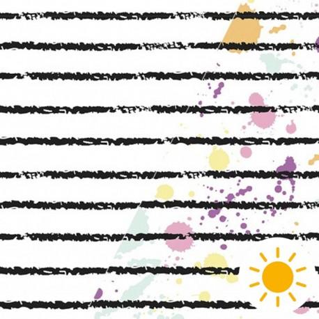 Oeko-Tex Color Changing fabric - watercolor stripe x 10cm