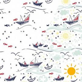 Oeko-Tex Color Changing fabric - bateau sur l'eau x 10cm