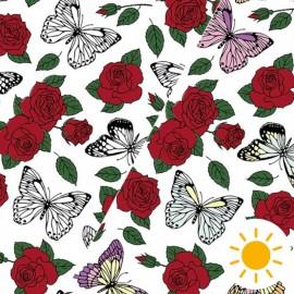 Tissu Oeko-Tex Jersey Photosensible - papillon romantique x 10cm
