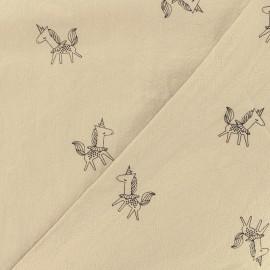 Tissu coton lavé Little unicorn - cappuccino x 10cm