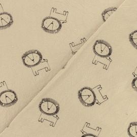 Tissu coton lavé Little lion - cappuccino x 10cm