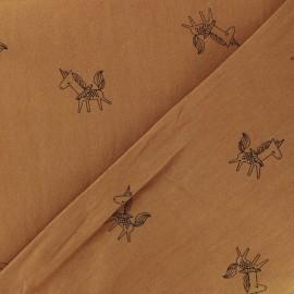 Tissu coton lavé Little unicorn - caramel x 10cm