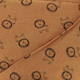 Washed cotton fabric - caramel Little lion x 10cm