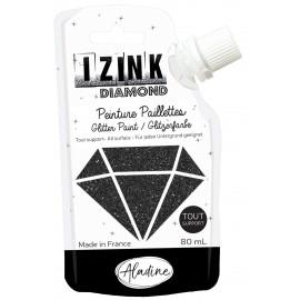 Peinture paillettes tout support Izink Diamond 80ml - noir