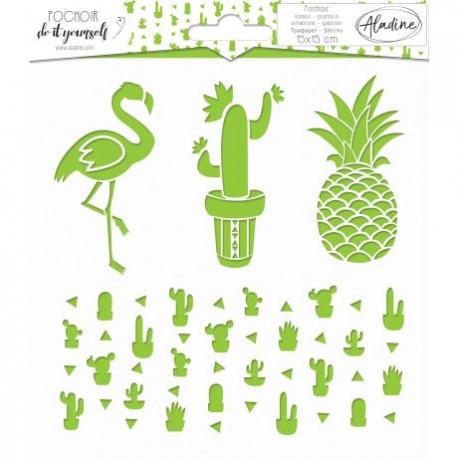 Pochoir carré DIY cactus