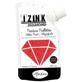 Peinture paillettes tout support Izink Diamond 80ml - rouge