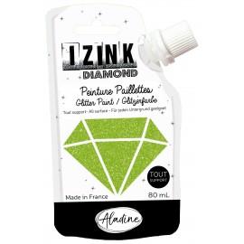 Peinture paillettes tout support Izink Diamond 80ml - vert