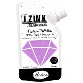 Peinture paillettes tout support Izink Diamond 80ml - mauve