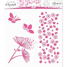 Square DIY stencil - flower