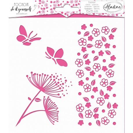 Square DIY stencil - flower