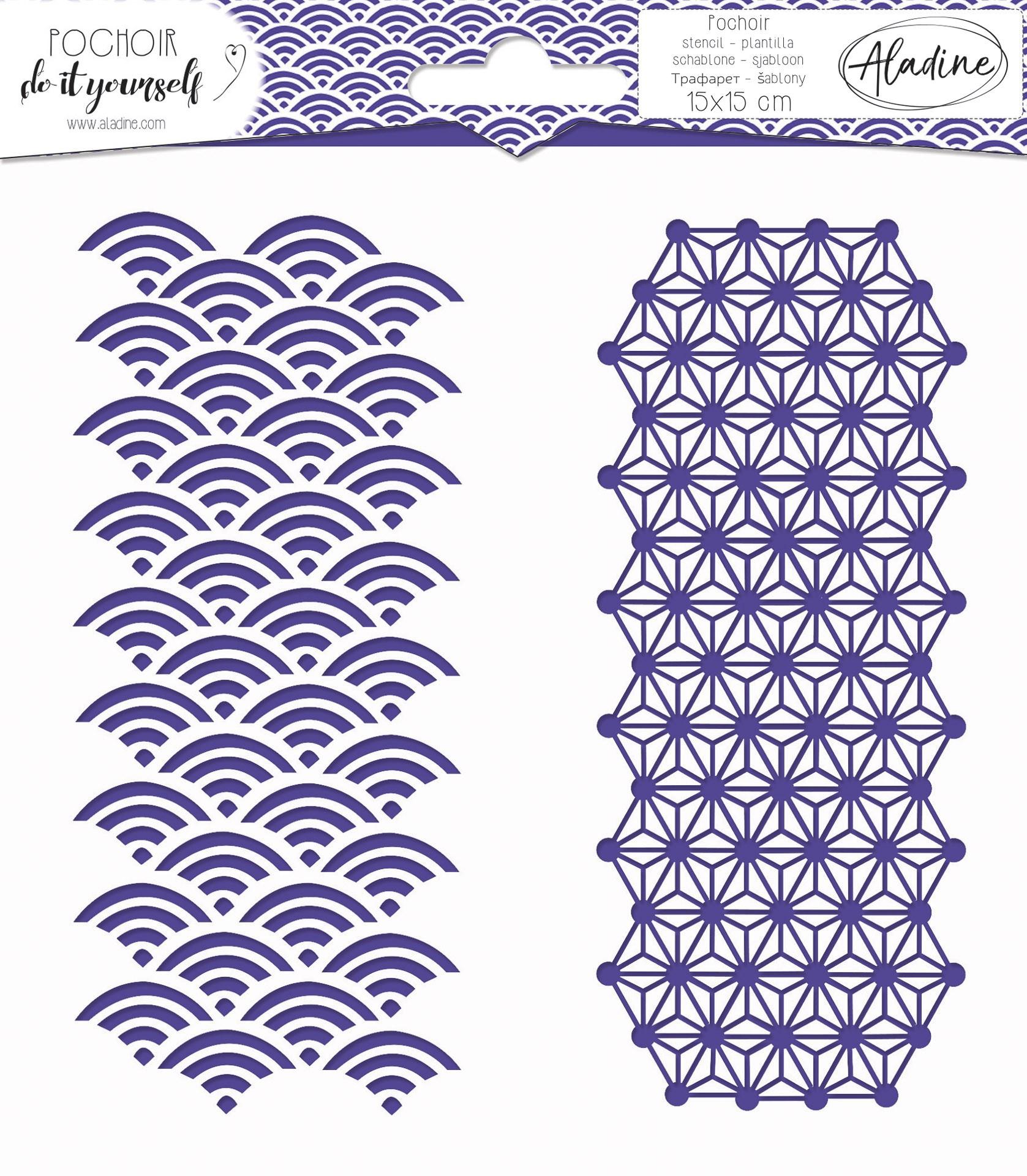 Square DIY stencil - japanese geometry