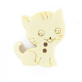 Bouton bois chaton collection Marelle 12 mm - naturel