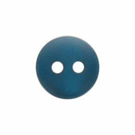 Bouton polyester aspect nacre Origine - bleu paon