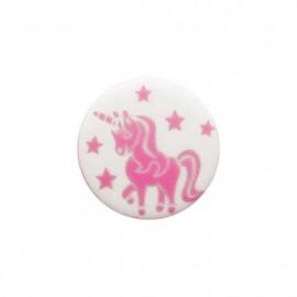 Licorne enchantée polyester button - pink