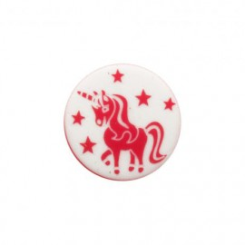 Bouton polyester Licorne enchantée - rouge