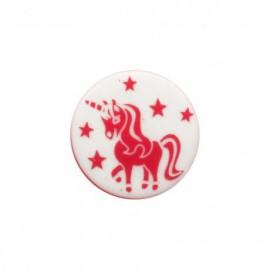 Licorne enchantée polyester button - red