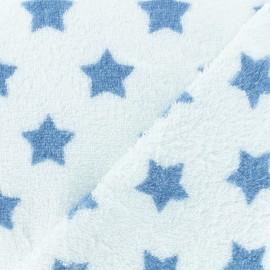 Tissu éponge Etoiles - bleu/blanc x 10cm