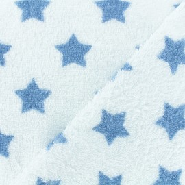 Towel fabric - blue/white stars x 10cm