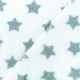 Tissu éponge Etoiles - vert de gris/blanc x 10cm