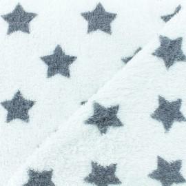 Towel fabric - dark grey/white stars x 10cm