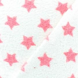 Tissu éponge Etoiles - rose/blanc x 10cm